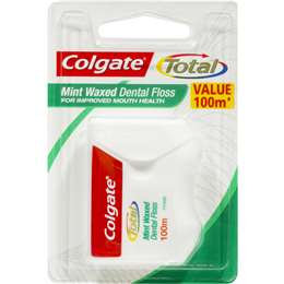 Colgate Total Mint Waxed Durable Oral Care Dental Floss 100m