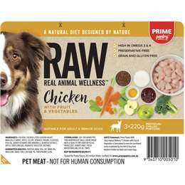 Prime Pantry Raw Chicken With Fruit & Vegetables 3x220g