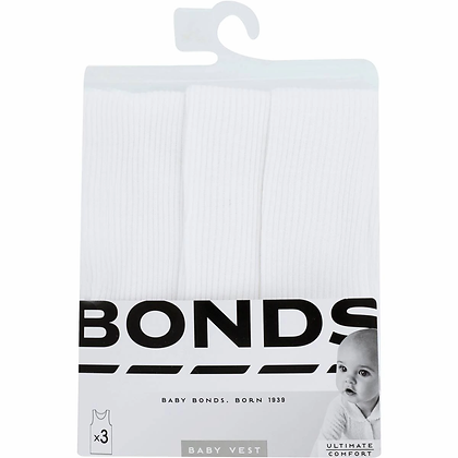 Bonds Baby Vest Size 000 To 2 3 pack