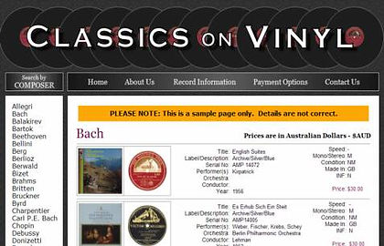 Classics on Vinyl (Sales) Sydney, NSW