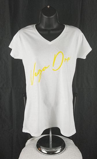 Vega Don Women's White Tshirt w Signature (S-M-L-XL-2XL)