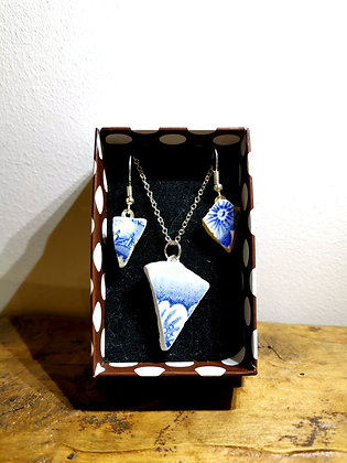 Sea Pottery Necklace  and earrings