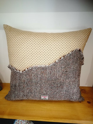Cotton and Harris tweed cushion cover
