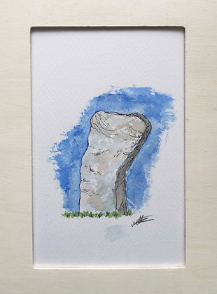 Framed Original Watercolour of a Callanish stone