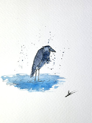 Framed Original Watercolour of a Heron