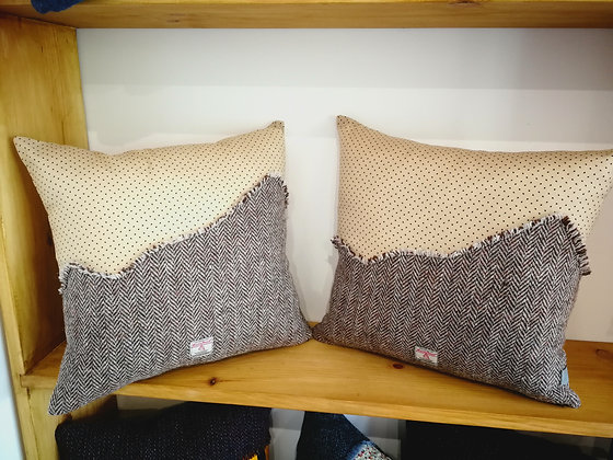 Cotton and Harris tweed cushions