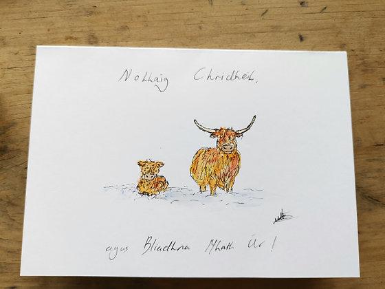 Original watercolour Christmas card