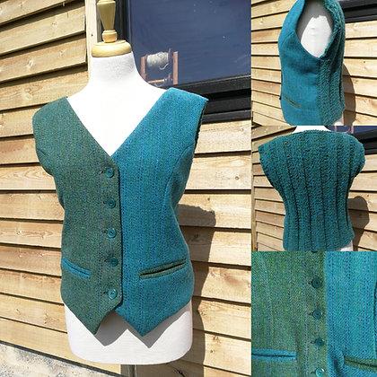 Bespoke Knitted Back Harris Tweed Waistcoat