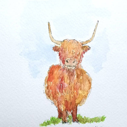 Framed Original Watercolour of a Highland Cow