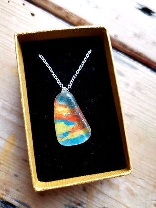 Painted Sea Glass Necklace