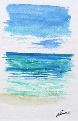 Framed Original Watercolour of a seascape