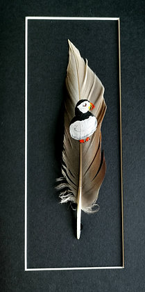 Puffin painted on a duck feather