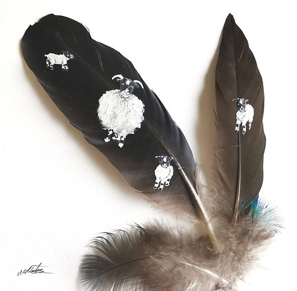 Sheep and lambs painted on raven and duck feathers