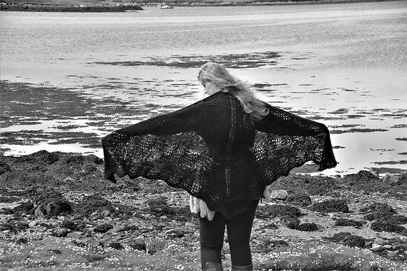 Hand-spun hand-knitted shawl
