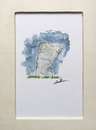 Framed Original Watercolour of callanish stones