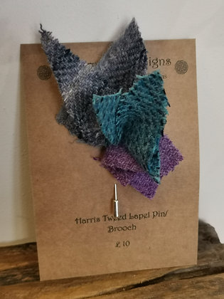 Harris tweed lapel pin brooch