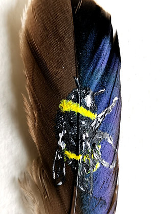 Bumblebee painted on a duck feather