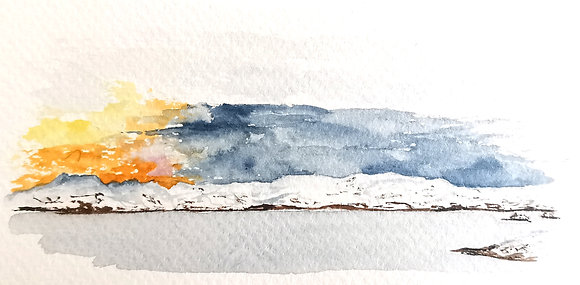 Framed Original Watercolour of a snowy sunrise