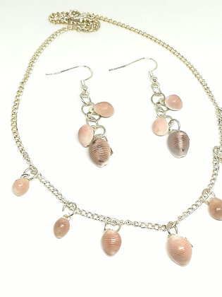 Large Shell Necklace and Earrings Set