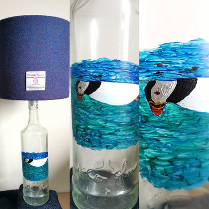 Painted bottle lamp with harris tweed shade