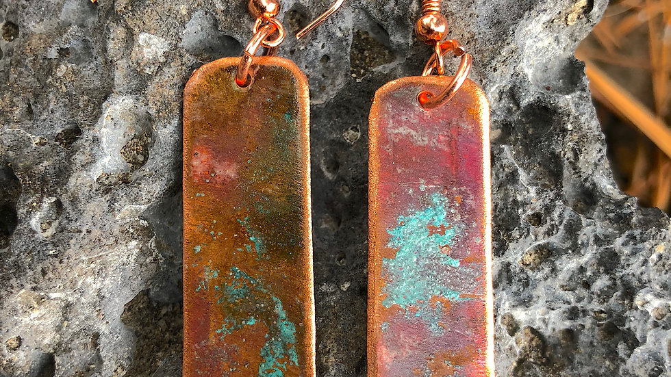 Reclaimed Copper Earrings with Copper Patina