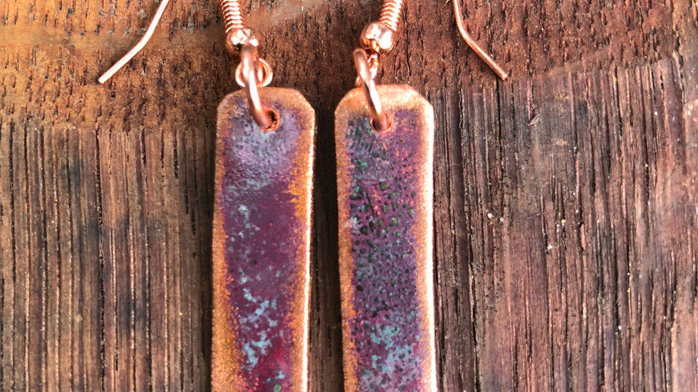 Reclaimed Copper Pipe Patina Earrings