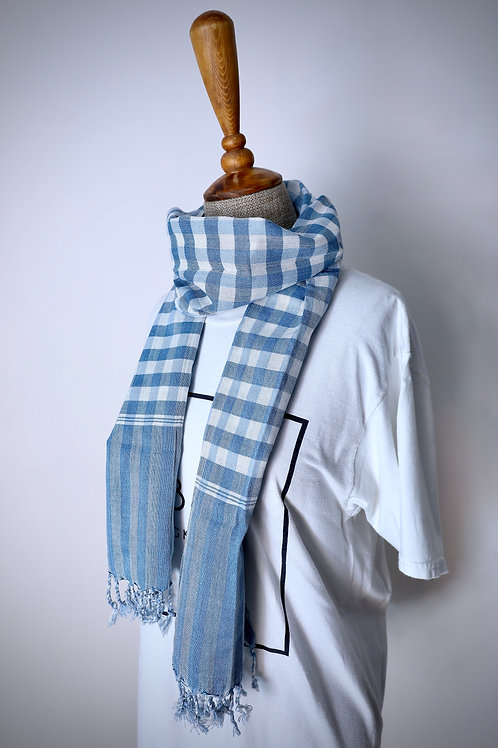 Blue Check Organic Cotton Scarf