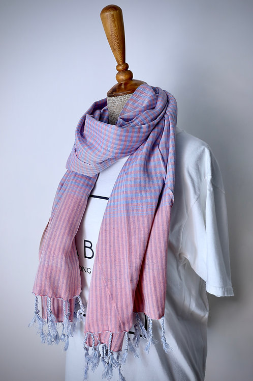 Pink And Blue Check Organic Cotton Scarf