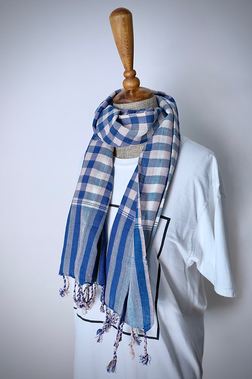 Pink And Light Blue Check Organic Cotton Scarf