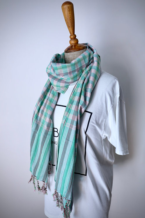 Green And Pink Check Organic Cotton Scarf