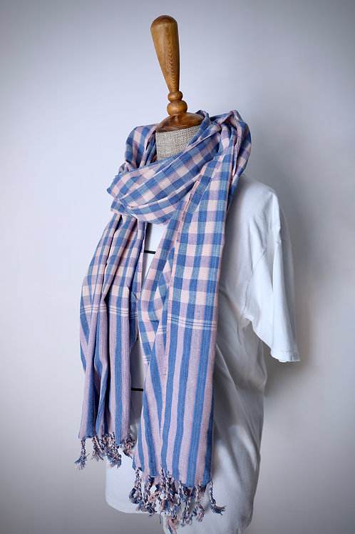 Blue And Pink Check Organic Cotton Scarf