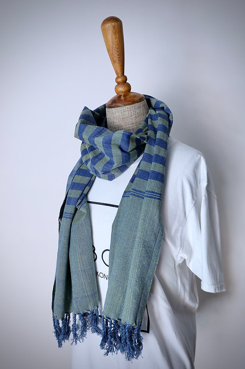 Navy And Dark Green Striped Organic Cotton Scarf