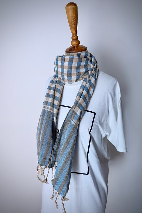 Caramel And Blue Organic Cotton Scarf