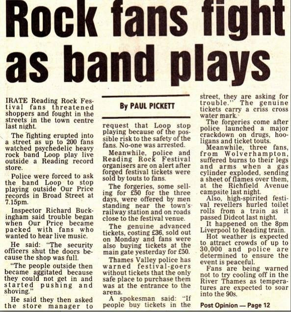 Loop na Our Price, Reading, 23 de agosto de 1990