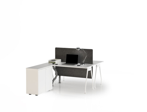 Trigon Series Face-to-Face Workstation with Cabinet
