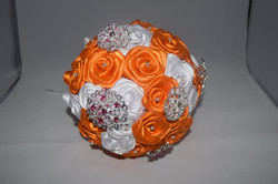 Orange & White satin bouquet
