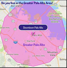Lyft limits for Greater Palo Alto area