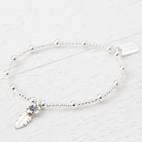 Thalia Feather Silver Flower Bracelet