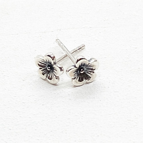 Cerise Silver Flower Stud Earrings
