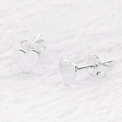 Carys Silver Stud Heart Earrings