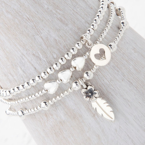 Thalia Feather Silver Flower Bracelet Set