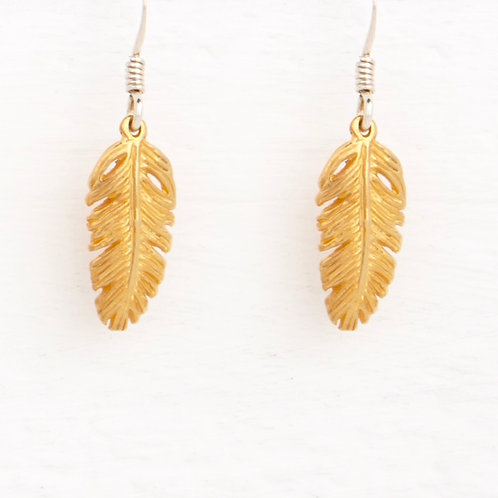 La Plume Feather Gold Earrings