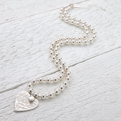 Amore Silver Beaded Necklace