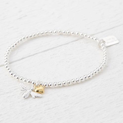 Beatrice Silver Bee Gold Heart Bracelet