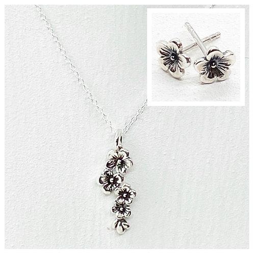 Falling Silver Flower Necklace & Earring Set