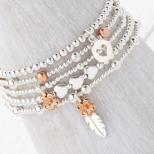 Cerise Rose Gold Flower Blossom Bracelet Set
