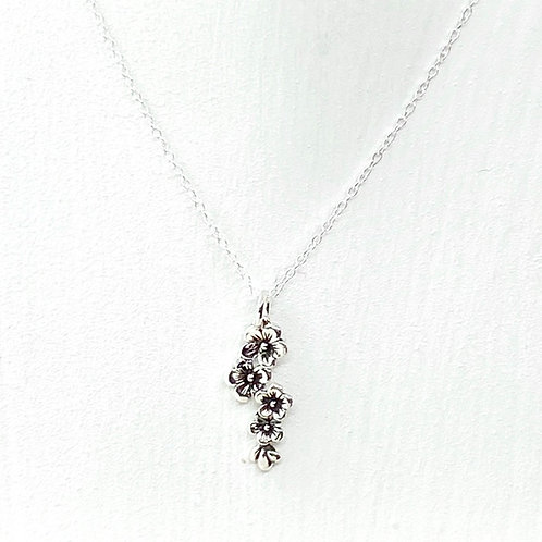 Falling Blossom Silver Necklace