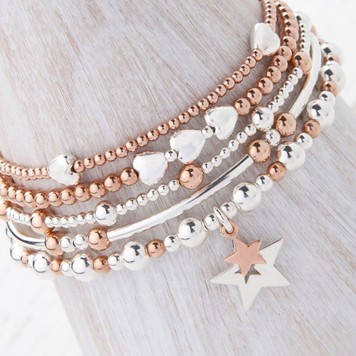 Phoebe Rose Gold Star 5 x Bracelet Set