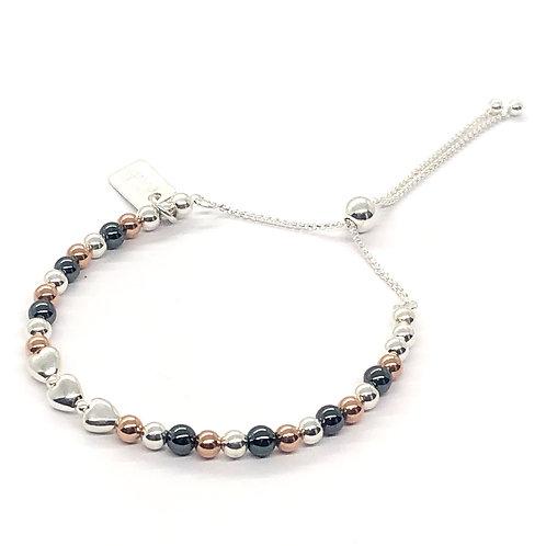 Safiyah Rose Gold, Hematite & Silver Slider Bracelet