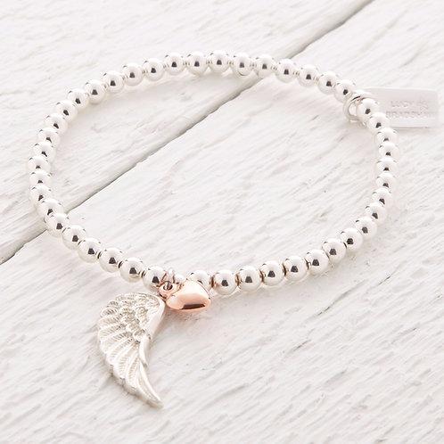 Parisa Silver & Rose Gold Angel Wing Bracelet